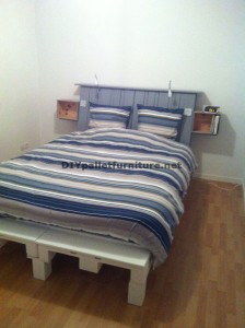 Fantastic bed with headboard built with 6 Europallets 3