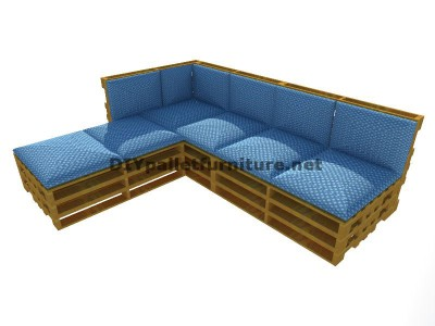 Step by step guide to easily make a sofa with chaise-long using entire pallets 6