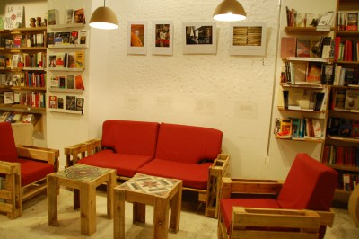 Ubik cafe, a bookstore and a cafe furnished with recycled objects 1