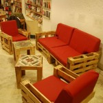 Ubik cafe, a bookstore and a cafe furnished with recycled objects 2