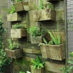 Vertical garden design built using pallet planks