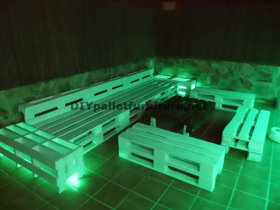 Chillout terrace sofas and table with LED lighting built with pallets 1