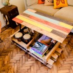 Lift top coffee table with pallets