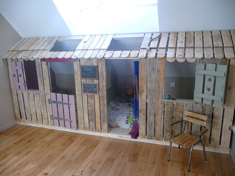 Little house and bedrooms with pallets for the childrenDIY Pallet