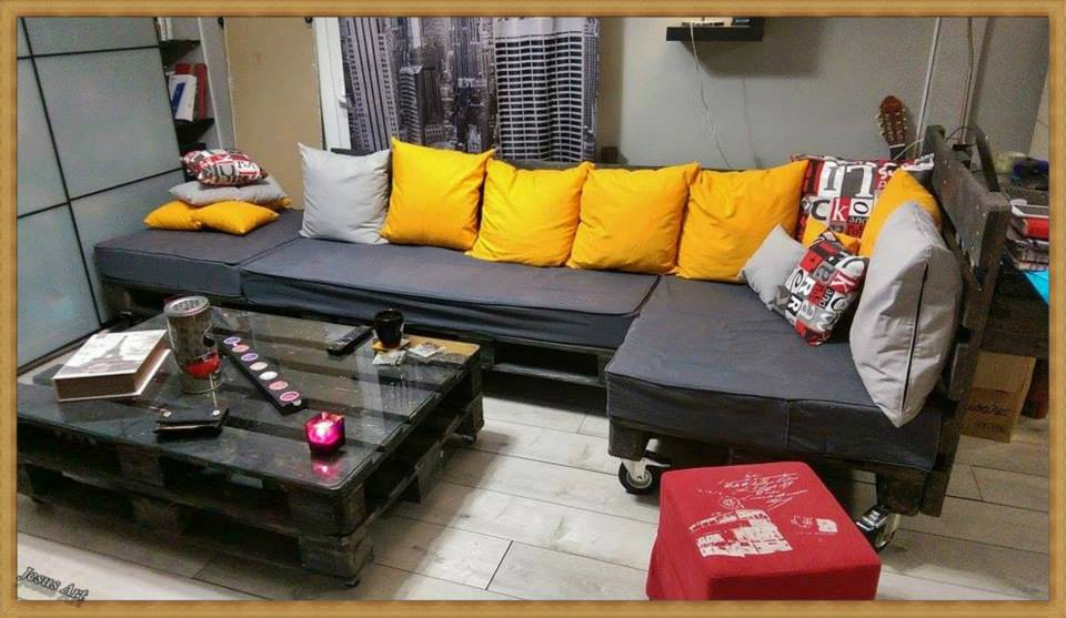 Living room fully furnished with palletsdiy pallet for Pallet living room couch
