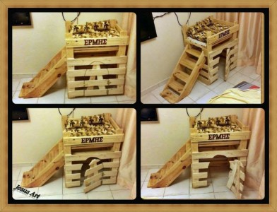 Pet cribs ideas built with pallets 11