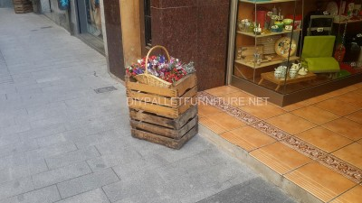 Planters improvised with fruit boxes 3