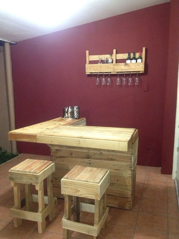 Bar counter built with pallets