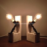 Bedside lamps made with pallets