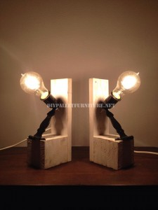 Bedside lamps made with pallets 1