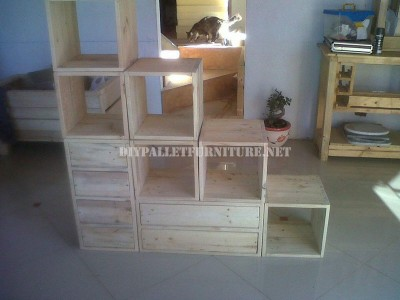 Modular shelving made with pallets 5