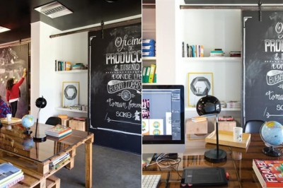 Advertising and film producer office furnished with pallets 2