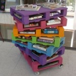 Colorful and original bookshelves with pallets