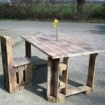 Dining table and chair built with pallets