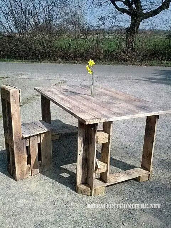 Dining table and chair built with palletsDIY Pallet  : Dining table and chair built with pallets from diypalletfurniture.net size 600 x 800 jpeg 177kB