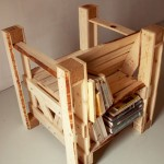 Interesting design 2 in 1 of a chair and bookcase with pallets