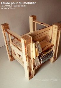 Interesting design 2 in 1 of a chair and bookcase with pallets 1