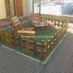 Outdoor furniture set for the garden built using pallets