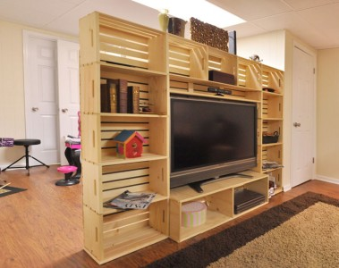 TV cabinet built with fruit boxes 1