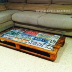 Living room table covered with car plates
