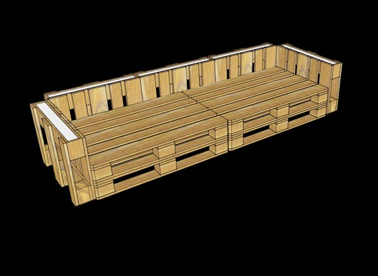 3D plans to furnish an office with pallets 8