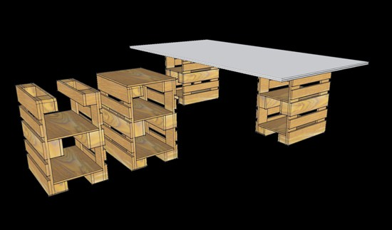 3D plans to furnish an office with pallets 9