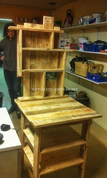 Auxiliary furniture for the kitchen with pallets 2