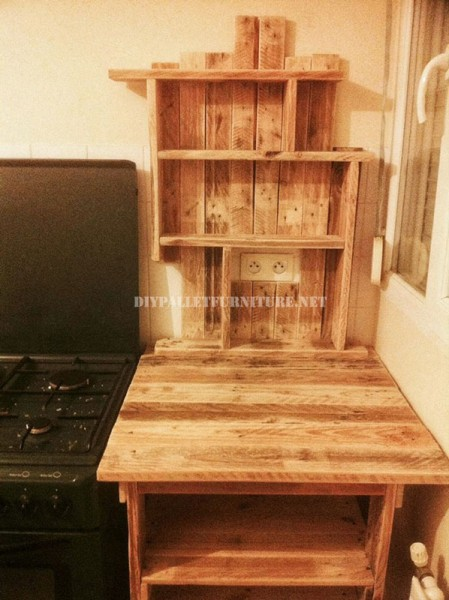 Auxiliary furniture for the kitchen with pallets 3