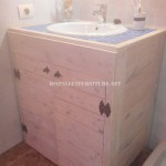 Cabinet for the bathroom sink made with pallets