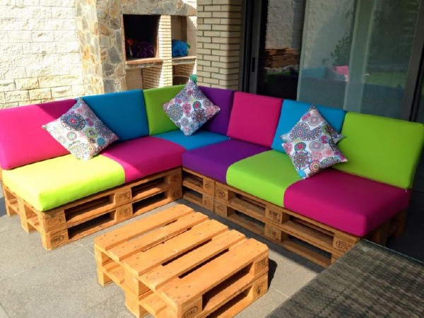 Colored sofa for the terrace 1