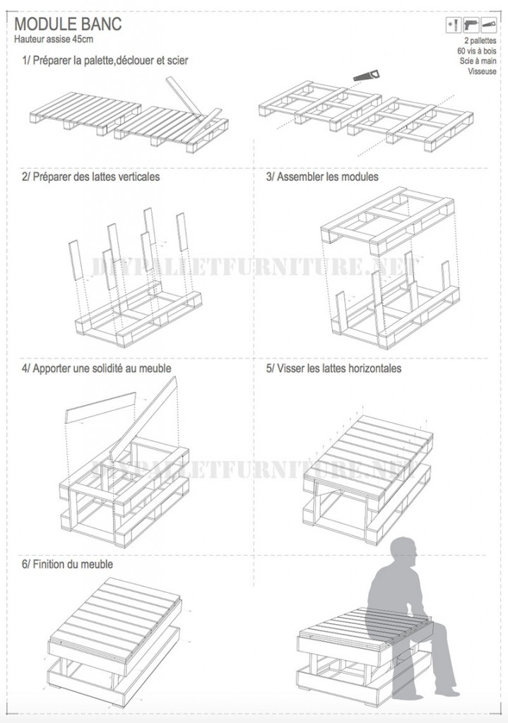 Plans to build modular pallet benches 3