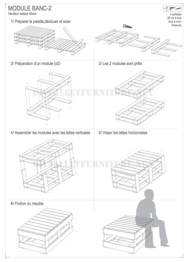 Plans to build modular pallet benches 4
