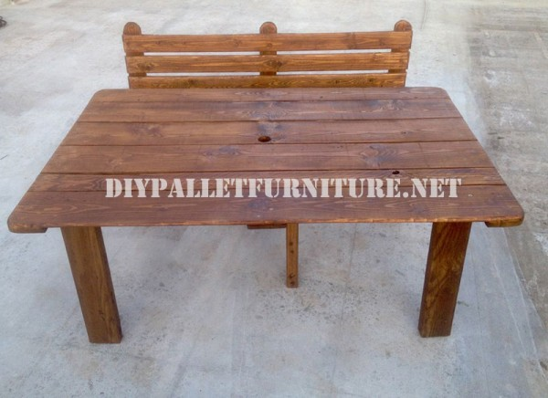 Bench and table made with pallets for the yard 5
