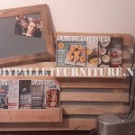 Magazine rack and mural made with a whole pallet