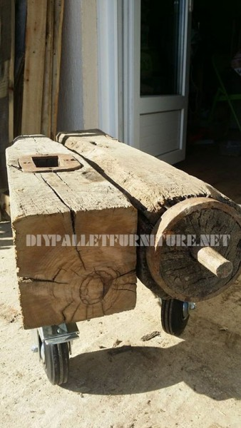 Coffee table made of a piece of a Corsican mill 2
