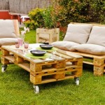 Garden furnished with pallets