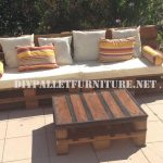 Outdoor sofa and table made with pallets
