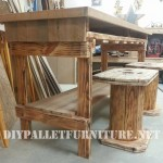 Table and stools built of reclaimed wood
