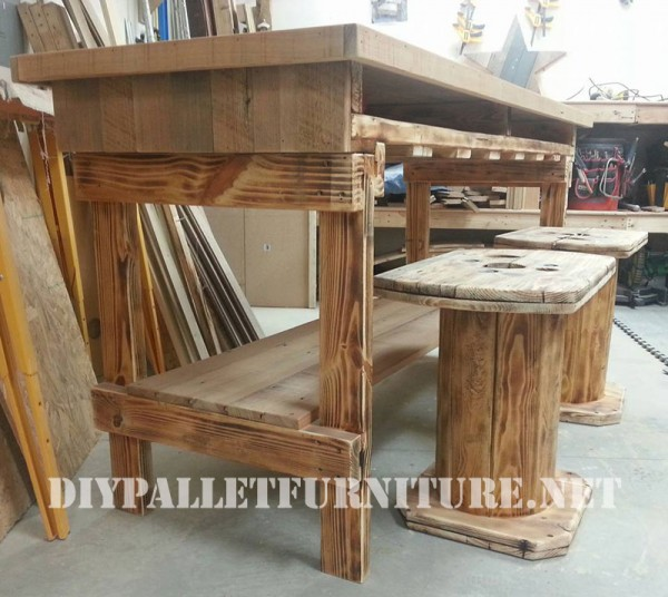 Table and stools built of reclaimed wood 1