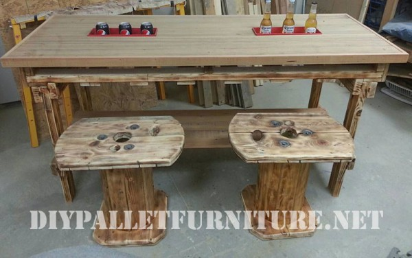 Table and stools built of reclaimed wood 2