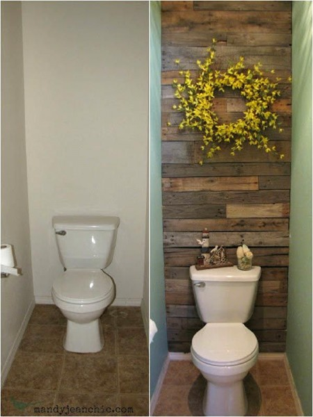 Tiled bathroom with pallets 1