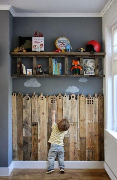 Decorative wood covering for children's rooms 2