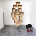 Defy gravity with these shelves made with fruit boxes