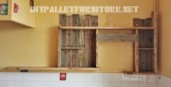 Kitchen shelf with pallets 6