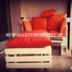 Sofa, table and stool built with pallets