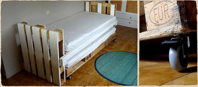 Trundle bed made with pallets 2