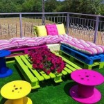 Colorful garden with pallets