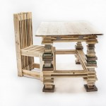 Desk and design chair with pallets