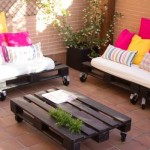 Small terrace furnished only with pallets