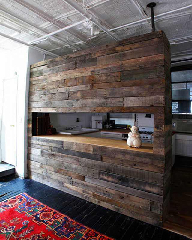 Breakfast bar build with recycled wood for the kitchen